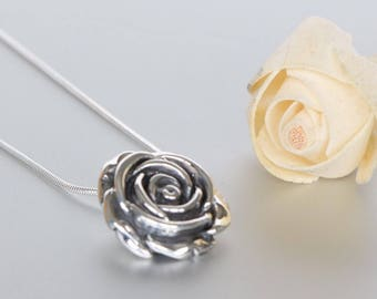 Silver Rose Pendant, Silver Gift Pendant, Silver Chain Necklace, Rose Necklace Bohemian Necklace, Valentines Gift (P125)