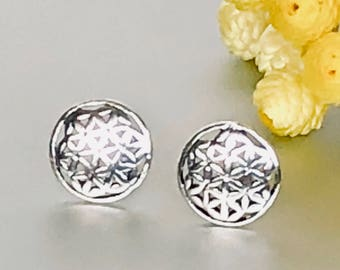 Flower Of Life Silver Earrings,Minimalist Ear Studs, Silver Ear Studs, Gifts For Her, Dainty  Earrings, Ear Studs (E164)