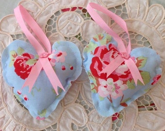 Handcrafted Gifts for her, Cath kidston Rosali shabby chic fabric decor hearts, ideal gift stocking filler.