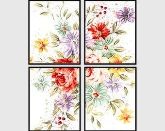 Set of 4 prints. Original watercolor flower wall art. Botanical art. Flower art 8x10 inc