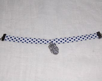 White and blue floral bracelet owls charm