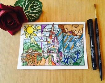 Beauty and the Beast - Stained Glass Window miniature