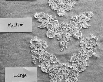 White Venise Lace appliques-yole appliques, bridal lace, craft lace, choice of size