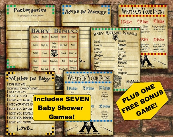 Amazing Harry Potter Baby Shower Game Pack