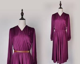 Violet Vintage Women Maxi Dress 1980s V Collar Long Sleeves Size M