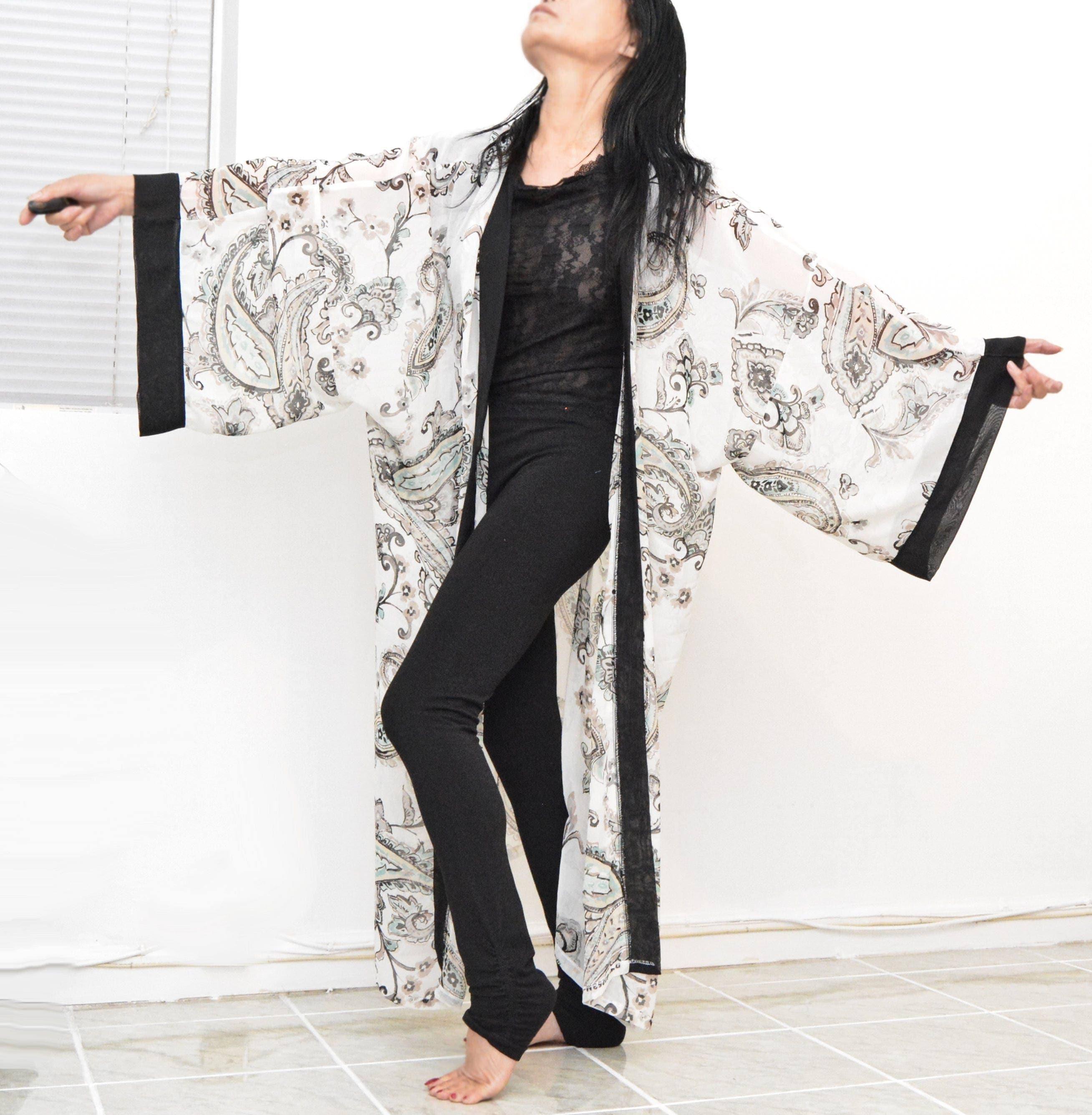 Black trim cardigan unique kimono lady chiffon robe loose