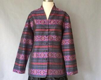 vintage silk blazer/ silk jacket/ silk outwear/ women's size M/L