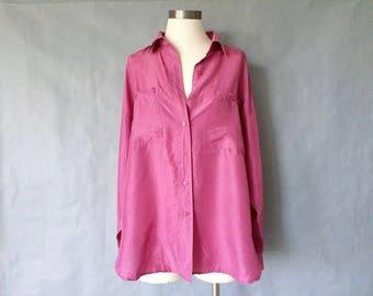 vintage silk blouse/ minimalist silk top/ silk shirt/ 80s silk top /pink women's size M/L