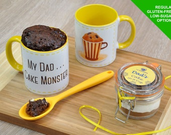 Mug cake kit for Dad, My Dad Cake Monster, Fathers Day, father's day, personalised with silicone mixing spoon recipe tag choice of chocolate