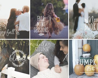 Autumn Fall Photography overlays, Thanksgiving Autumn Fall Typography, Seasonal photoshop overlay, social media template, hand letter