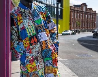 African Bomber Jacket - African Coat - Patchwork Bomber - Festival Bomber - Bomber Jacket - Festival Clothing - Festival Jacket