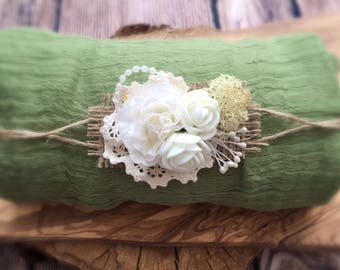 Soft Cheesecloth Wrap with headband Baby Newborn Photography Prop In Green