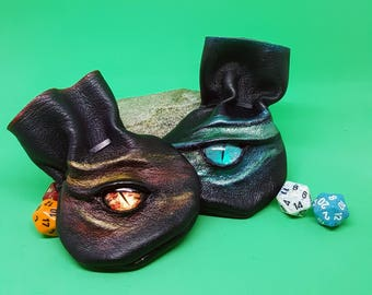 Extra Small Leather Dragon Dice Bags / Coin Pouches they Hold 7 Dice, with stunning Hand Painted Dragon's Eyes.