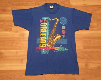 Large 1989 New Orleans men's vintage T shirt The Birthplace Of Jazz Bourbon St. blue 1980's Fruit of the Loom Louisiana 80's saxaphone