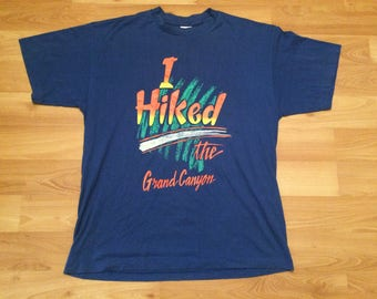 XL vintage Grand Canyon T shirt men's blue orange green I Hiked The Grand Canyon 80's 90's