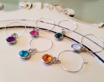 Multiple Colored Jewel Wine Glass Charms, Wine Glass Charms, Jeweled Wine Glass Charms