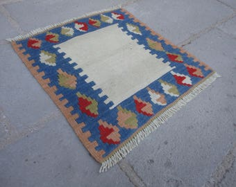 FREE SHIPPING !!!Kilim rug ,Turkish vintage rug, entrance rug,gift rug 19 x 18 country decor,boho rug,pileless rug,flat woven rug,small rug