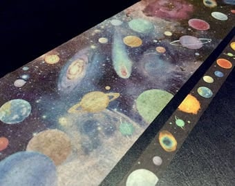 star galaxy world decor universe washi tape 10cm wide x 5M outer space planets sticker tape space theme super wide tape planet wall decor