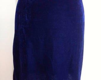 Blue velvet recycled mini stretch skirt