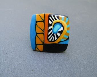 Ring made of polymer clay. Square ring. Woman ring. Original ring.