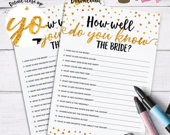 INSTANT DOWNLOAD - Who knows the bride best bridal shower games How well do you know the bride gold confetti bridal shower printable