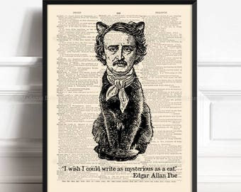 Bookworm Art Print, Edgar Allan Poe, Book Lover Gift Idea, Edgar Poe Gothic, Best Cat Lady Gifts, Cat Lovers Gifts, Gift For Bibliophile 538