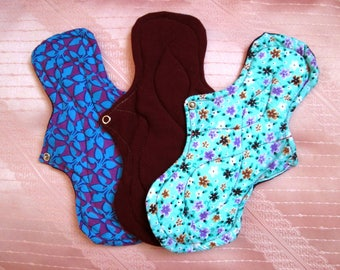 3 Overnight cloth pads~ 11 inches washable pads~ breathable~ natural~ reusable 28 cm cotton pads~ Extra long and thick pads, for HEAVY flow