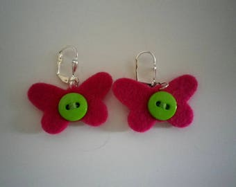 Kids jewelry - pink girl Butterfly shape earrings - spring-summer - gift idea