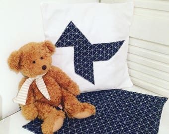 Thick blue and white cotton pillow cover