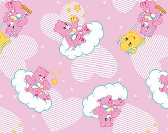 Pink Care Bears Hopeful Heart Bear Cotton fabric from Camelot Fabrics 44010104-1 America Greetings fabric by yard metre quilting licensed