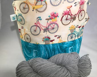 Bicycle Knitting Crochet Craft Zippered Project Bag