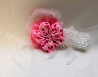 white newborn baby or girl's headband with flower