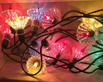 1980's  Vintage Ornamental Crystal Reflective Christmas Lights