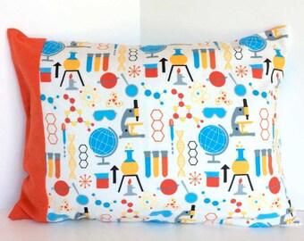 Science bedding etsy scienceorange huggable snuggable minitraveltoddler pillow cover urtaz Image collections