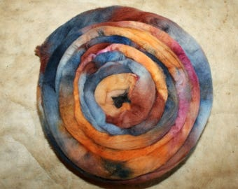 Hand dyed merino wool kingfisher-combed