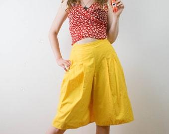 80s bright yellow Shorts, Vintage wide shorts, Yellow Midi Shorts, High Waist Shorts, Loose Shorts, Wide Leg Shorts, Knee Length