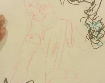Sasuke soldier | 9x12inches original fan art illustration