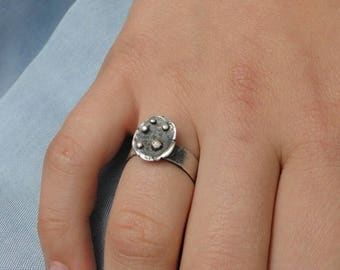 Sterling Silver Ring with Raw Efect Regulated Ring Hammered Ring Raw Ring Unique Jewelry