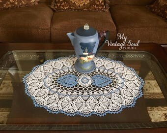 Blue Christmas Doily - Coffee Table Doily - Pineapple Crochet Doily - Farmhouse Decor - Wedding Gift - Housewarming Gift - Oval Doily
