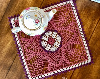 Lilac Square Lace Doily - Farmhouse Table Decor - Coffee Table Decor - Housewarming Gift - Rustic Table Decor - Crochet Doily - Wedding Gift