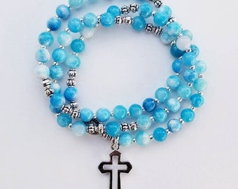 Aqua and White Marble Jade Stretch Rosary Bracelet