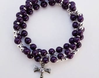 Eggplant Mountain Jade Rosary Bracelet