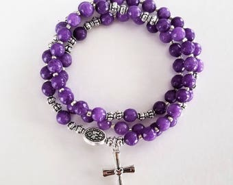 Purple Jade Stretch Rosary Bracelet