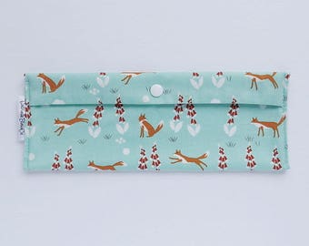 ORGANIC cotton - Bag brush tooth/toothpaste, utensils or reusable sandwich wrap - foxes-