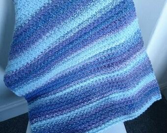 Crochet Baby Blanket, Blue baby blanket, Textured baby blanket, Pram blanket, New baby gift, Baby shower, Gift