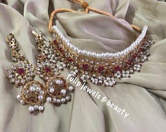 Triditional indian / Pakistani Jewellery Necklace Bridal Hyderabadi jadu jewellery Choker Jhumka