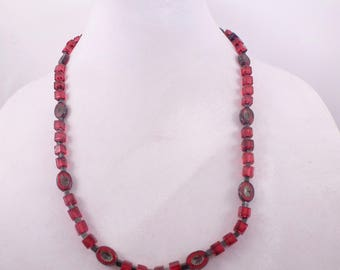 Red Czech Ovals and Glass Squares Necklace & Earrings