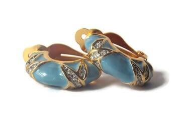 Blue Enamel Gold Tone Clear Rhinestone Clip on Hoop earrings, Blue Enamel Earrings, Half Hoop earrings, Rhinestone earrings, Enamel Jewelry