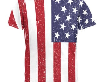 4th of July American Flag Distressed All Over Adult T-Shirt