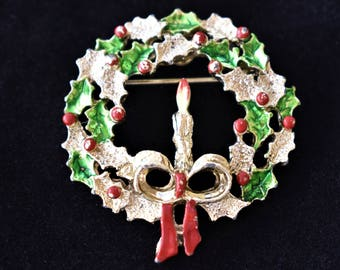 Vintage Christmas Holiday Wreath Candle Brooch Coat Sweater Scarf Pin Gold Tone Signed Gerrys Retro Holiday Costume Jewelry 1.75""